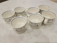 Lot Of 7 Mikasa Intaglio Annette coffee cup mug  CAC20 white floral
