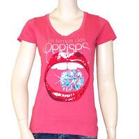 LE TEMPS DES CERISES t shirt bouche strass rose femme taille S