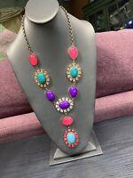 "Vintage Necklace Bold Large statement Multi Color Lucite Cabochon Rhinestone 30"""