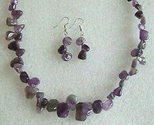 Beautiful Genuine Amethyst Polished Nugget Gemstone Necklace & Earrings Gift Set