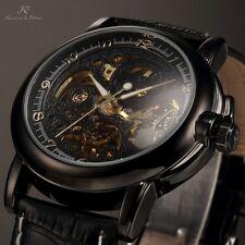 KS Men's Classic Black Skeleton Automatic Mechanical Sport Army Wrist Watch