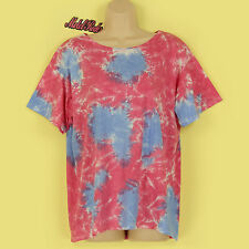 BNWT PINK, BLUE & WHITE TIE DYE SOFT STRETCHY SHORT SLEEVE SUMMER TOP SIZE M