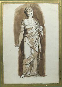 19th century Original Ink Drawing - Antique Woman, Sculpture