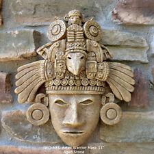 "History Aztec Maya Artifact Warrior mask Sculpture Statue 11"" Tall Aged Stone"