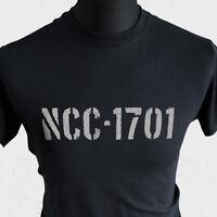 NCC-1701 USS Enterprise T Shirt Star Trek Sci Fi Kirk Spock Retro Movie TV Black