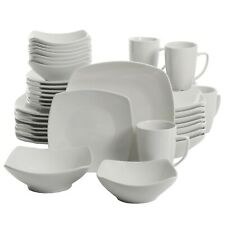 40-Piece Dinnerware Set White Ceramic Kitchen Dish Square Dinner Plates Mugs