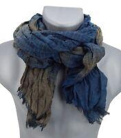 Ella Jonte Men's Scarf Blue Braun Striped Viscose Men's Scarf Herrentuch