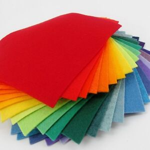 "25 - 12""X12""  Rainbow Colors Collection - Merino Wool blend Felt Sheets"