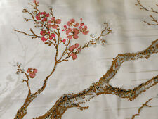 Vintage Chinoiserie Branching Blossom Floral Textured Fabric ~ Pink Gray Brown