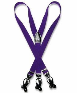 Men's Solid PURPLE SUSPENDERS Y Shape Back Elastic Button & Clip Convertible