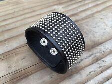 Punk Rock Wide Genuine Leather Unisex Cuff Bangle Bracelet Adjustable Wristband