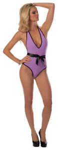 Escante Eye Candy Teddy with Satin Bow & Heart Cutout Back, Turq or Purple