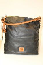 Dooney & Bourke Large Black Leather Zip Top Hobo Shoulder Bag