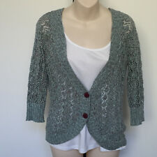 'JACQUI.E' VGC SIZE '8' GREEN & TAUPE PATTTERN KNIT BUTTON FRONT 3/4 SLEEVE TOP