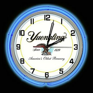 """19"""" Yuengling Beer Sign Blue Double Neon Clock Americas Oldest Brewery"""