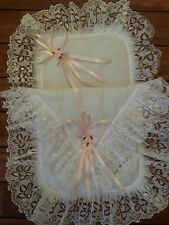 Romany Frilly White and Pink Hand Made First Size Dolls Pram Set