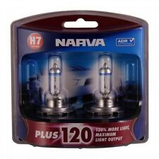 NARVA H7 +120% PLUS 120 HALOGEN LIGHT BULBS HEADLAMP GLOBES NEW 12V 48366BL2