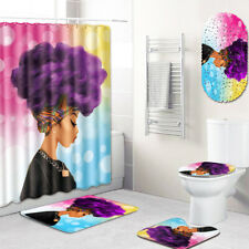 African Woman Bathroom Rugs Shower Mat Shower Curtain Bathmat Toilet Lid Cover