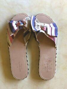 NEW Kate Spade Idalah Berber Stripe Printed Canvas Slide Sandals 9.5