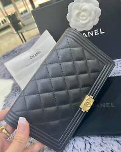 Chanel Boy Long Wallet in caviar black
