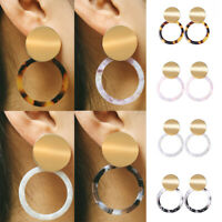 Fashion Women Acrylic Metal Hollow Round Geometric Dangle Stud Earrings Jewelry