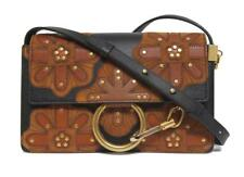 New $1990 Chloe Small Faye All Over Flower Leather & Suede Bag