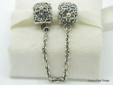 AUTHENTIC PANDORA CHARM 2-TONE BOUQUET SAFETY CHAIN #790864  RETIRED HINGED BOX