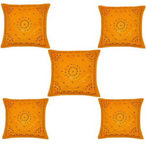 Set of 5 Indian Style Ethnic Embroidery Mirror Work Throw Pillow Cushion Cover