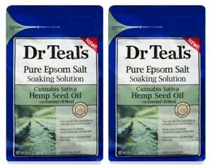 (Pack of 2) Dr Teals Pure Epsom Salt - Soaking Solution - Hemp Seed Oil - 3 lbs
