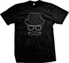 Bowler Hat Glasses Mustache Moustache Formal Classy Hipster Mens T-shirt