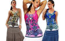 Ärmellose Damenblusen, - tops & -shirts mit U-Ausschnitt aus Baumwollmischung