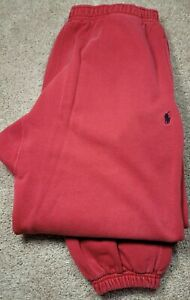 POLO RALPH LAUREN-Red Jersey Knit, Mens All Purpose Warm.Up/Sweat Pants-(S)