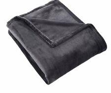 Velvet Throw Light Weight Plush Soft Cozy Fuzzy Anti-Static Blanket Dark Grey