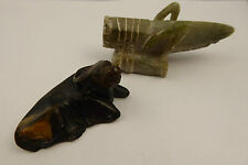 2 x Soap Stone Carvings Grasshopper signed Rwanza & Well Carved Water Buffalo