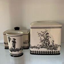 "WAVERLY~""Country Life"" Toile 3 pc. Bathroom Set~Ceramic~Cream & Black~Retired"