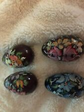 Four beautiful hand-painted eggs three maroon one blue