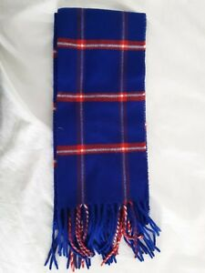PERRY ELLIS Mens Royal Blue/Red/White PLAID WINTER SCARF NECK MUFFLER SHAWL