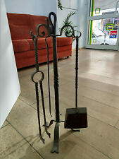 Antique Set Fireplace Tools Hand Hammered with Stand Hearth Home 1930s