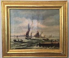 19TH CENTURY ENGLISH GREAT MARINE SAILBOAT OIL PAINTING