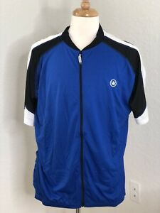 Canari NEW Men's Cycling Jersey DRYCORE 2XL SHORT Sleeve FULL Zip BLUE WHITE.
