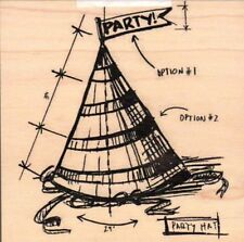 Tim Holtz Collection Party hat sketch guide wood mounted Rubber stamp - New