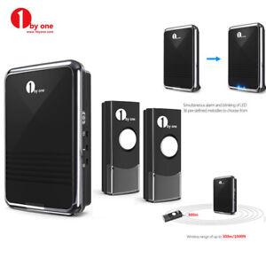 1byone Wireless Waterproof Plug-in Doorbell 1 Receiver & 2x Battery Button Bell