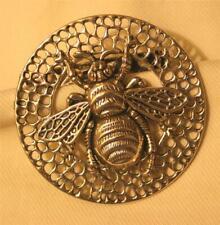Handsome Lacy Openwork Bee Hive Bumblebee Bee Round Silvertone Brooch Pin