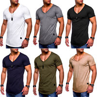Mens V Neck Short Sleeve T Shirt Slim Longline Muscle Sports Gym Basic Tee Tops