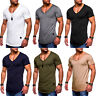 Men's V Neck Short Sleeve Muscle T-shirt Slim Fit Cotton Casual Tee Tops Blouse