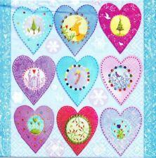 2 Serviettes papier Coeurs de Noël Decoupage Paper Napkins Xmas Hearts