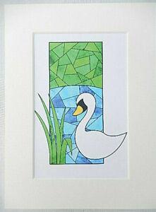 Framed Artisan Stained glass inspired original artwork print Swan