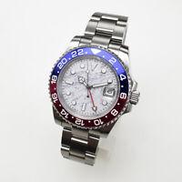 40mm GMT automatic Men's watch Meteorite dial blue/red bezel sapphire glass