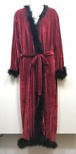 Victoria's Secret Red Velour Robe Women's Size M Black Feather Accent Lined Long