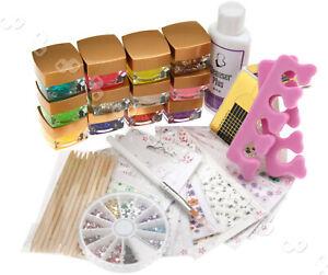 12 Colors UV Glitter Builder Gel Set + Cleanser Plus + 10pcs 3D Nail Sticker